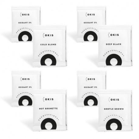 Набор из 4 крем-красок для бровей в саше OKIS BROW и 4 окислителей с экстрактом хны