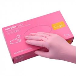 Перчатки Nitrylex одноразовые нитриловые розовые размер XS 100 шт